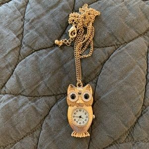 Gold Owl Clock Necklace